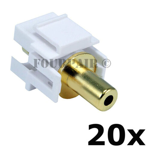 """20 Pack 3.5mm 1//8/"""" Gold Stereo Female Jack Aux Coupler Keystone Snap-In White"""