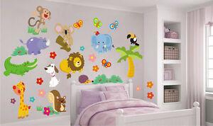 Animaletti adesivi murali stickers cameretta bambini decoro pareti o mobili ebay - Stickers mobili ...
