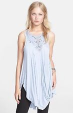 107604 New $108 Free People New World Embellished Aiden Blue Tank Tunic Top M US