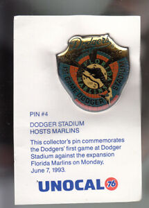 VINTAGE-L-A-DODGERS-UNOCAL-PIN-UNUSED-DODGER-STADIUM-HOSTS-MARLINS-1993