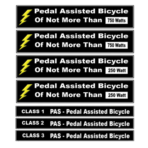 Pedal Assisted eBike Decal Kit Fits Pedal Assist Electric Bikes 250-750 Watts