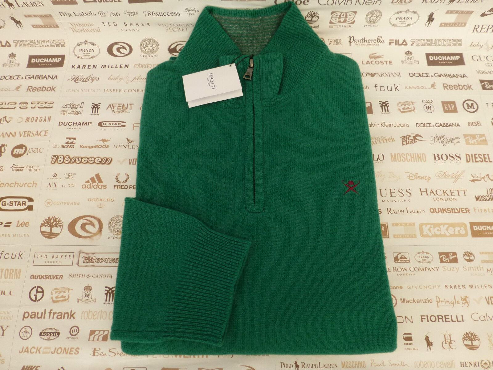 Hackett Tuck Maglione Taglia XXXL verde Mezza Zip Top Agnelli Lana Pullover NUOVO CON ETICHETTA RP