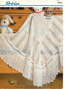 a855ba33a Robin 13497 Vintage Baby Knitting Pattern Shawl   Blanket 48