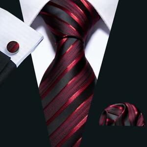 USA-Wine-Red-Burgundy-Striped-Tie-Set-Silk-Jacquard-Mens-Wedding-Necktie-Party