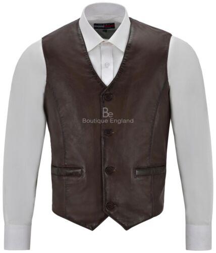 Uomo Vera Pelle Marrone Gilet party fashion elegante Napa Gilet di pelle 5226