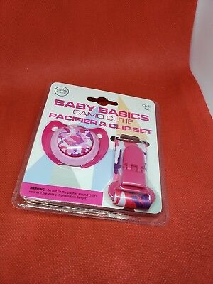 Baby Basics Camo Cutie Orthodontic Pacifier /& Lanyard Clip Set Camouflage Pink