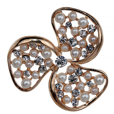 Elegant Rose Gold Faux Pearl Diamante Crystal Flower Brooch Pin Women Gift Party