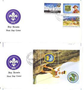 SIERRA LEONE BOY SCOUTS SCOTT #1443-46 STAMP SET & SOUVENIR SHEET ON FDC 1991