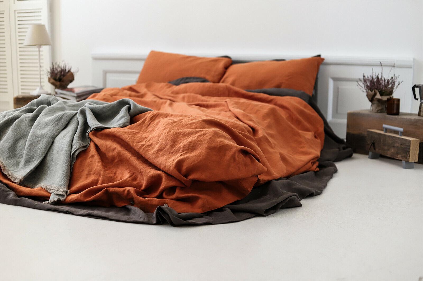 Pumpkin Stonewashed Linen Duvet Cover