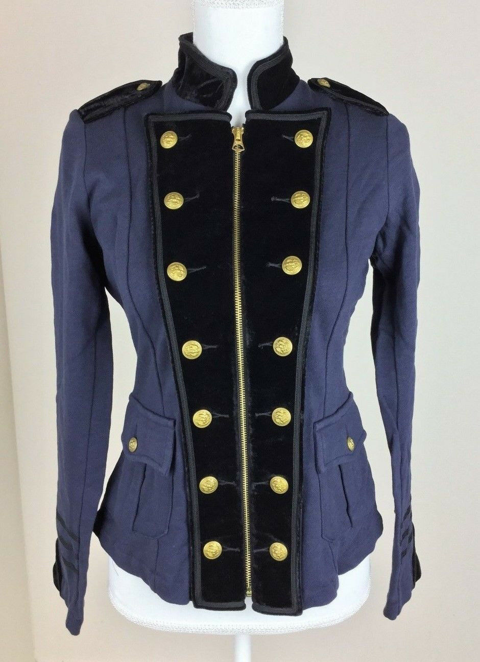 Women Coat Military bluee bluee bluee Military Style Zipper With Buttons Medium Size 8f586b