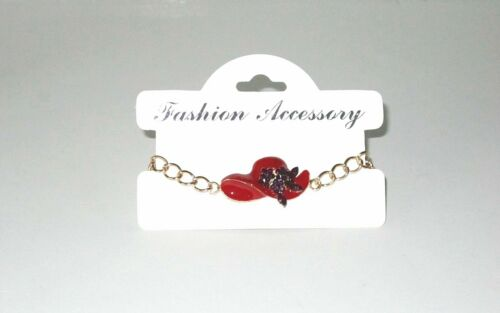Red Hat Chain Bracelet Purple Crystals Gold Tone Society Ladies