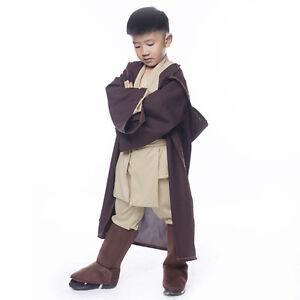 Image is loading Star-Wars-Obi-Wan-Kenobi-Jedi-Knight-Kids-  sc 1 st  eBay & Star Wars Obi Wan Kenobi Jedi Knight Kids Cosplay Costume Outfit ...