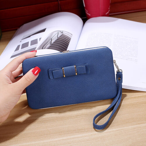 Girl Women Lady PU Leather Clutch Wallet Long Card Holder Purse Box Handbag Bag