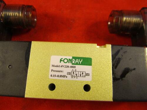 """Air Pneumatic Solenoid Valve 2 position 5 way 1//4/"""" 4V220-08-F-AC110V Fonray"""