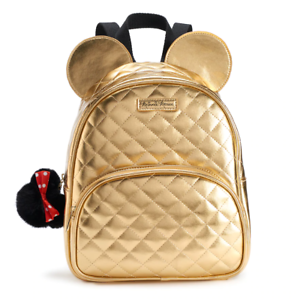 NIP Disney Minnie Mouse 3-D Quilted Gold Mini Backpack /& Bag Charm SEALED