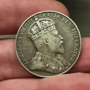 1908-Canada-NEWFOUNDLAND-50-Cents-KM-11-Nice-Silver-King-Edward-VII-Scarce-Coin