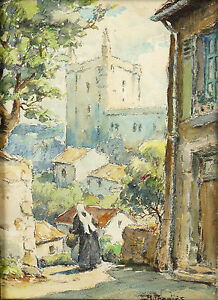 View-Village-Landscape-Signed-in-down-Framed-Brittany-Coiffe-Breton