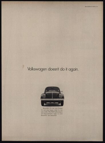 Ugly As Ever VINTAGE AD VW Doesn/'t Do It Again 1969 VOLKSWAGEN BEETLE