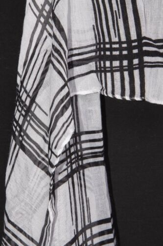 Black /& White Tartan Like Sheer Multi Occasions /& Ages Women/'s Cool Scarf S175B
