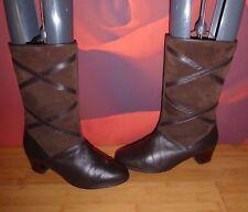 *41* SUPERB VTG BROWN LEATHER  SUEDE PORTLAND TERMAL LINING GRANNY BOOTS  UK 4.5