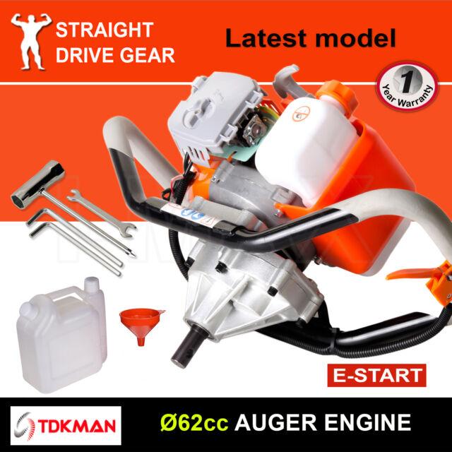 62CC TDKMAN Petrol Post Hole Digger Motor Engine Earth Auger Fence Borer Bit