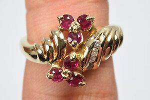 Women-039-s-Luxury-Ruby-amp-Diamond-68-ct-High-Quality-Cluster-Ring-G-SI2-Sizable-6