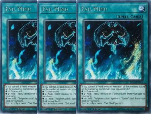 Yugioh Evil Mind X3 Rare LED5 1st Ed Mint Playset