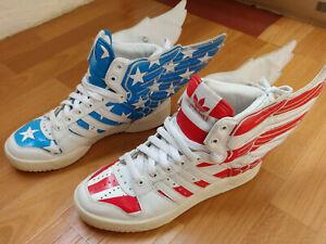 Acerca de la configuración persona que practica jogging Teórico  Adidas Jeremy Scott Wings 2.0 US FLAG Stars and Stripes sneakers JS shoes  V24619 | eBay