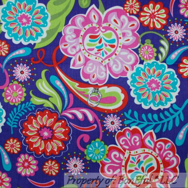 BonEful Fabric FQ Cotton Quilt Purple Pink Aqua Red Green Large Flower Swirl Dot