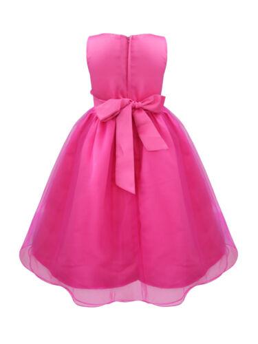 US Kids Baby Flowers Girls Party Sequin Dress Wedding Bridesmaid  Princess Dress