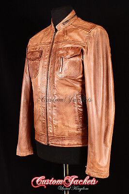 Men's VENDETTA VINTAGE TAN Biker Motorcycle Fitted Lambskin Leather Jacket