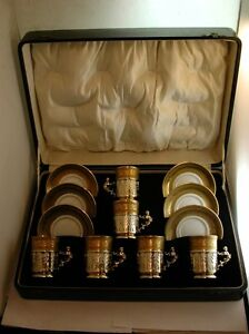 Fabulous-1926-Solid-Sterling-Silver-Limoges-Coffee-Set-In-original-fitted-case