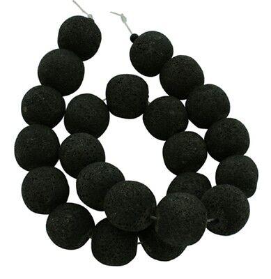 12 echte Lavaperlen, Kugel, ca. 6 mm, Schwarz