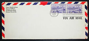 US-Airmail-Cover-FDC-Kansas-Centennial-Pair-Stamp-USA-Lupo-First-Day-H-7172