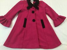 Iris & Ivy Size 4 Years Pink Sparkle Bow Dressy Coat Jacket W/ Velvet Like Trim