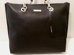 Image Is Loading New Tahari Womens Tote Handbag Black W Gold