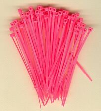100 4 Inch Long 18 Pound Fluorescent Pink Nylon Cable Zip Ties Ty Wraps Usa