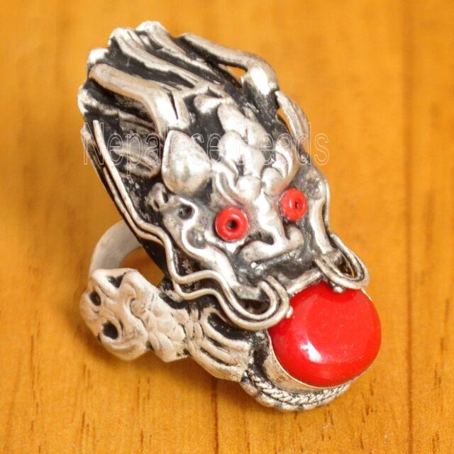 R727 Tibetan Nepali Handmade Coral Dragon Ring 9' Tibet Nepal Eksha Creations