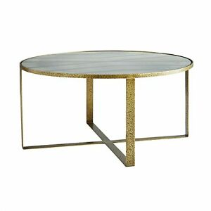 Details About 38 Round Coffee Table Contemporary Antique Brass Antiqued Glass Gold Gray Iron
