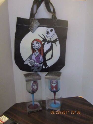 Nightmare Before Christmas Jack Sally Glass Goblet Both New In Box /& Tote Bag 1