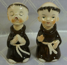 Vintage Monks Salt And Pepper Shaker Ceramic S&P Set Sanmyro Japan