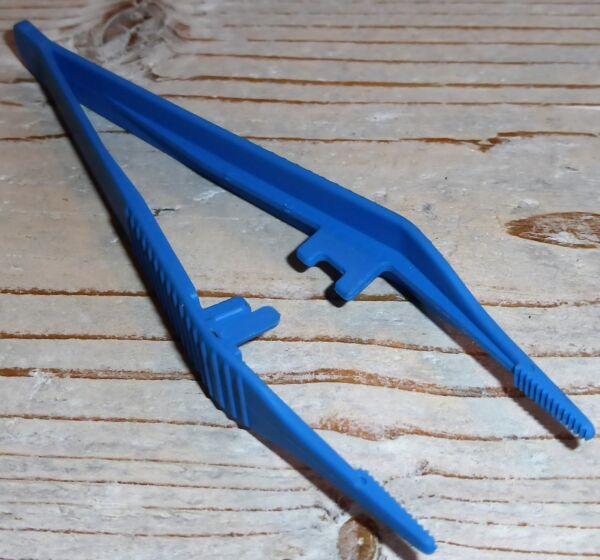 ! Kunststoffpinzette Pinzette Kunststoff Plastik Blau Neu !