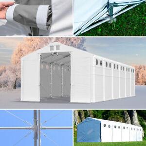 LAGERZELT-Pavillon-4x6-8x12m-mit-Belichtung-GARAGE-ganzjaehrig-4m-Seitenhoehe