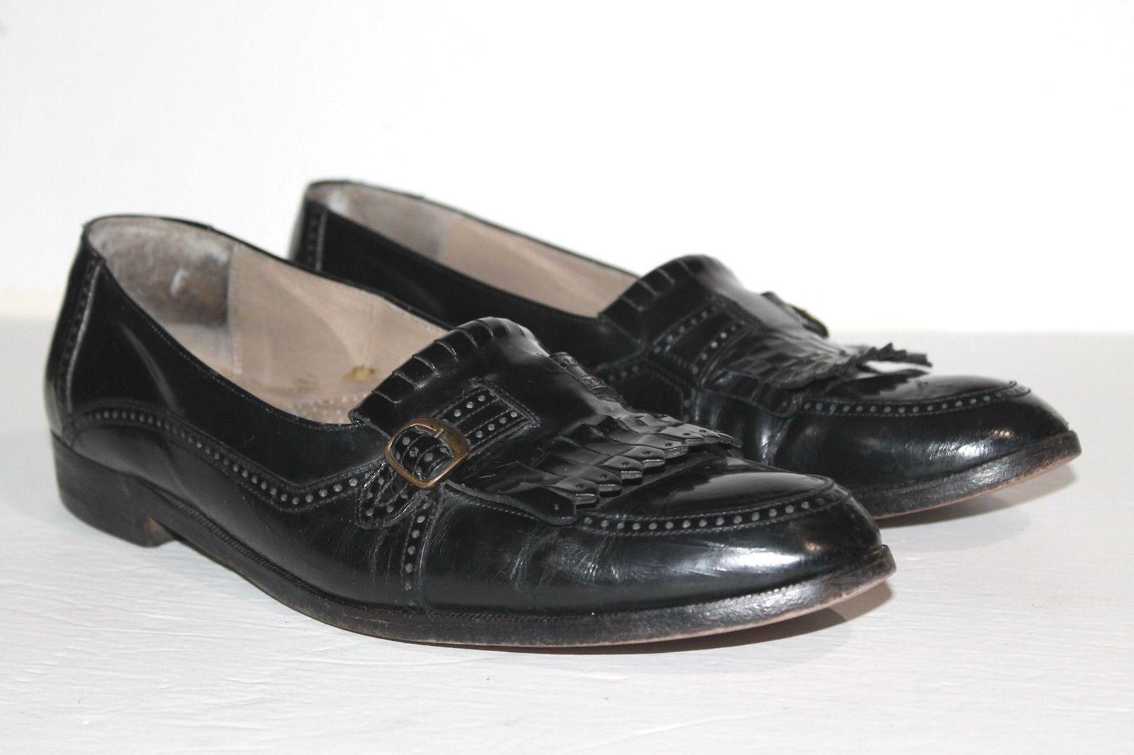Men's BALLY Kiltie Monk Strap Brogue Black Loafer Patent shoes  US 10.5