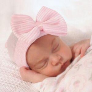 c706c1fa5258 Detalles de Recién Nacido Bebé Niño Niña Bebé Cómoda Lazo Hospital Gorra  Gorro Cálido Top