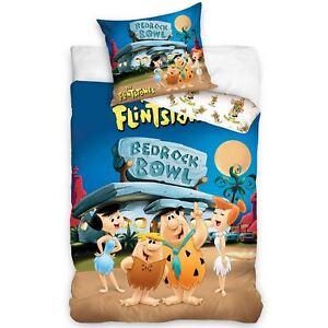 Flintstones-Substratum-Rocheux-Bol-Housse-Couette-Simple-Set-Coton-Europeen-2-IN