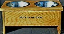 RAISED DOG BOWL HOLDER EIGHT INCHES TALL PET FEEDER WITH FREE PET NAMES