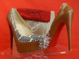 fd5331ceae3 Details about NIB LOUBOUTIN CAMEL ASTEROID SPIKES 160 SNAKE LEATHER  PLATFORM PUMPS 35