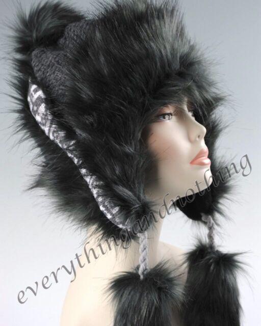Wool Faux Fox Fur Winter Mongolian Hat Ushanka Trapper Russian Style Black