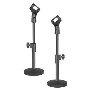 Neewer-2pcs-Fer-Noir-Base-Desktop-Microphone-Monopod-Stands-avec-Mic-Holder